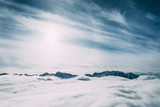 beautiful snow-covered mountain peaks and clouds, mayrhofen, austria - 195321923
