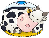 Chubby cow sleep. Vector clip art illustration with simple gradients.