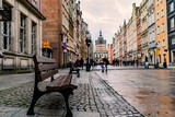City benches on the main street of old Gdansk Poland