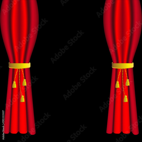Fotobehang Stof Red curtains and draperies with tassels on black background