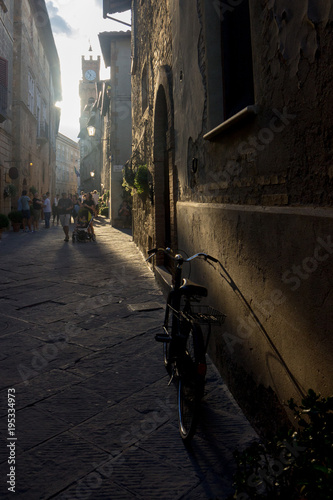 Wall Murals Narrow alley vicolo con bicicletta a pienza in toscana