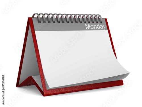 Calendar for monday on white background. Isolated 3D illustration