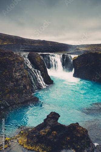 Papiers peints Gris traffic Hrauneyjafoss Waterfalls In Iceland