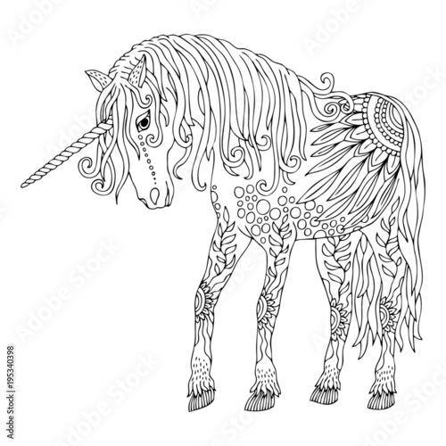 Unicorn Hand Drawn Fantasy Horse Sketch For Anti Stress Adult