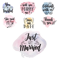 Wedding day marriage proposal phrases text lettering invitation cards calligraphy hand drawn greeting love label romantic vector illustration.