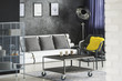 Room with industrial recycled furniture