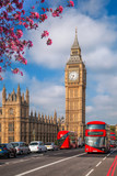Big Ben with bus during spring time in London, England, UK - 195346764