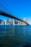 Lower Manhattan Downtown skyline panorama from Brooklyn Bridge Park riverbank, New York City, USA - 195350770