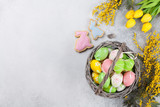 Easter eggs and yellow flowers. Greeting card