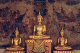Ancient Buddha sculptures at Wat Uposatharam Temple or Wat Bot at noon under clear blue sky, Thailand - 195356797