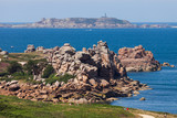 Rocks, small island, and lighthouse on Brittany seashore / Finisterre - 195356950