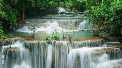 Breathtaking green waterfall, Erawan's waterfall, Located Kanchanaburi Province, Thailand - 195357393