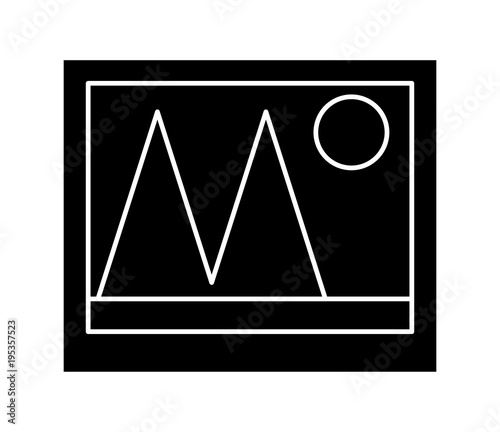 Foto op Canvas Zwart Picture icon over white background, vector illustration