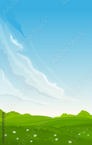 In de dag Blauw Vertical rural summer landscape