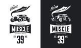 Vintage hot rod vehicle black and white isolated vector tee-shirt logo. Premium quality sport car logotype t-shirt emblem illustration. Bronx, New York street wear hipster retro tee print design. - 195362787