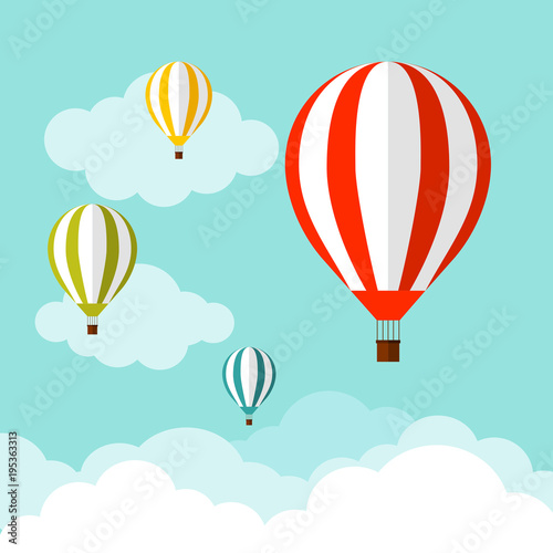 balloon in the sky with clouds. Flat cartoon design. Vector illustration