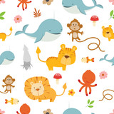 Creative Cute Wild Animals vector pattern