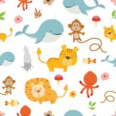 Creative Cute Wild Animals vector pattern