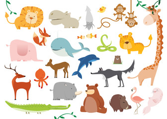 Creative Cute Wild Animals vector illustrations © pingebat