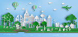 Paper art style of landscape with eco green city, people enjoy fresh air in the park, save the planet and energy concept, flat-style vector illustration. - 195370300