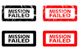 Mission failed - rubber stamp - vector - black and red