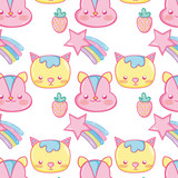 Punchy pastel cute animals background pattern