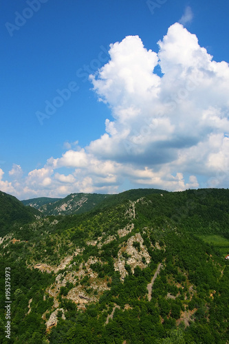 Blue sky Alpine landscape in Serbia, Europe