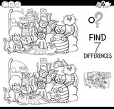 find differences game with cats coloring book - 195376541