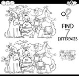 find differences game with dogs coloring book - 195376589