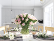 bunch of tulips in a nordic style apartment. 3D rendering - 195376999