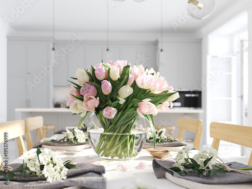 bunch of tulips in a nordic style apartment. 3D rendering