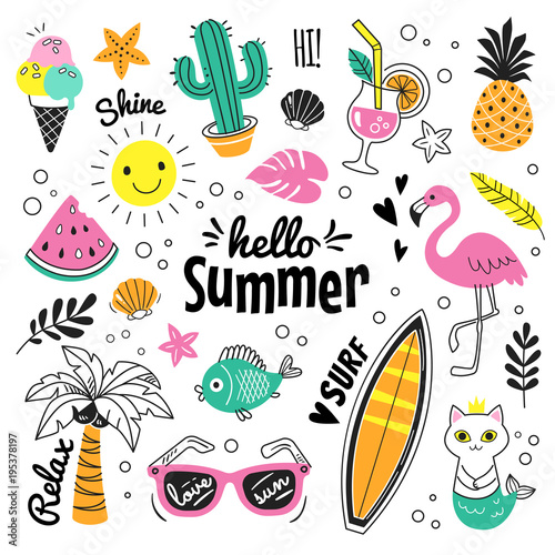 Hello Summer collection. Vector illustration of colorful funny doodle summer symbols, such as flamingo, ice cream, palm tree, sunglasses, cactus, surfboard, pineapple and watermelon. - 195378197