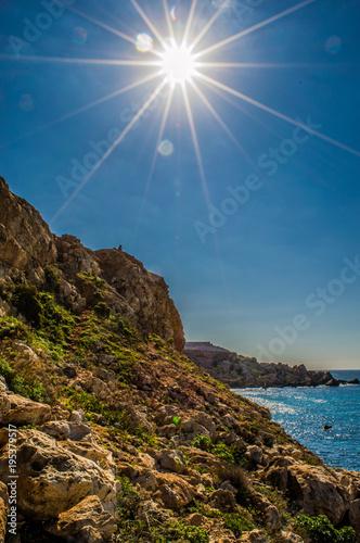 Fotobehang Blauwe jeans Għajn Tuffieħa Bay, Malta