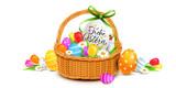 Fototapety Frohe Ostern - Osterkorb Dekoration mit bunt bemalten Ostereiern und Blumen