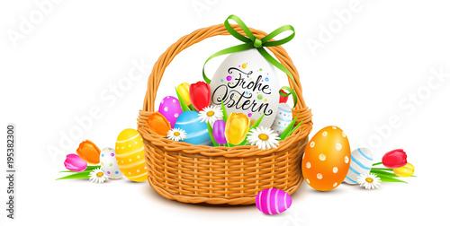 Frohe Ostern - Osterkorb Dekoration mit bunt bemalten Ostereiern und Blumen  - 195382300
