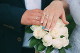 wedding, bride, bouquet, hands, ring, love, groom, couple, flowers, marriage, white, rings, married, flower, rose, ceremony, celebration, hand, woman, romance, bridal, dress, nuptials, roses, nails - 195384303