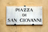 Street sign of the Piazza di San Giovanni in Florence - Italy.