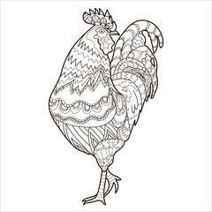 Rooster, farm animal, coloring, coloring illustration