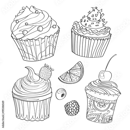 Coloring page, coloring page with cupcakes, desserts, sweets and berries