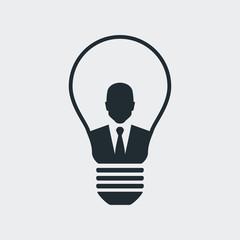 Icono plano hombre de negocios en bombilla en fondo gris
