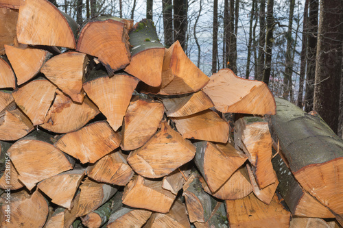 Foto op Canvas Brandhout textuur Brennholz auf Stapel
