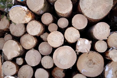 Foto op Canvas Brandhout textuur drewno składowane zimą