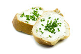Baguette mit Frischkäse isoliert freigestellt auf weißen Hintergrund, Freisteller