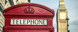 iconic british old red telephone box - 195392526