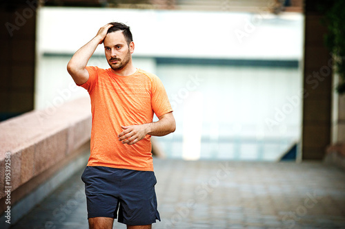 Fototapeta Man is jogging