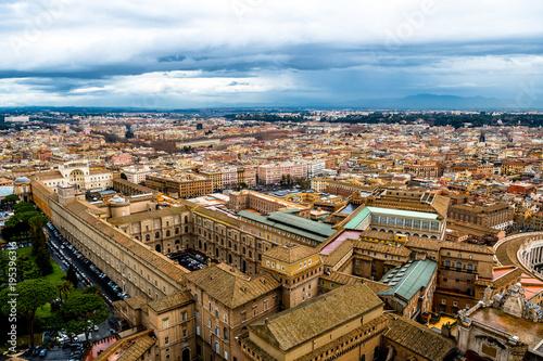 Fotobehang Rome Ausblick mit Häusern und Straßen in Rom in Italien