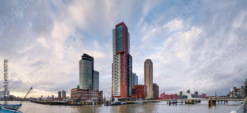 Tuinposter Rotterdam City Landscape, panorama - view of skyscrapers and harbor in the district Feijenoord, city of Rotterdam, The Netherlands.