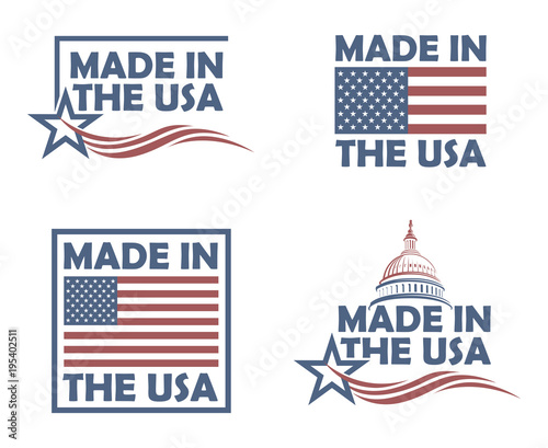 collection of made in the usa labels on white background