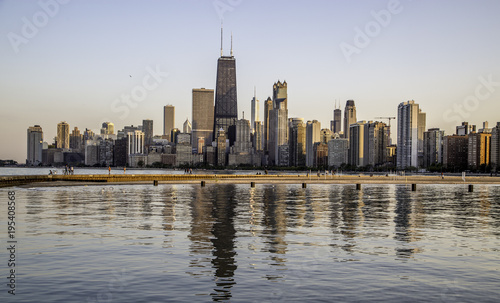 Foto op Plexiglas Chicago Chicago Skyline at Sunset