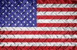 Rough textured metal diamond plate background with american flag layered. Red white and blue american old glory flag. - 195410958